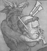 Martin Luther as the Devil's Bagpipe 16th C Woodcut
